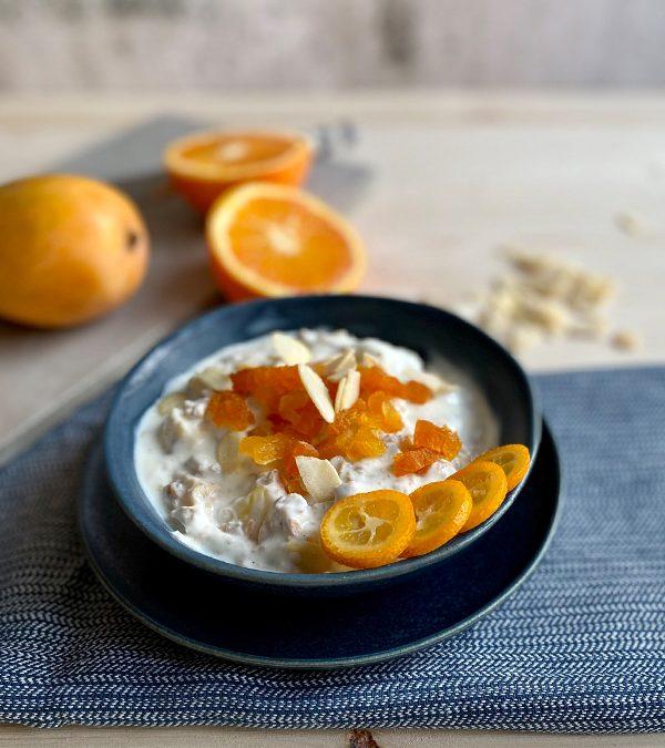 Orangen-Mango Emmer Müsli