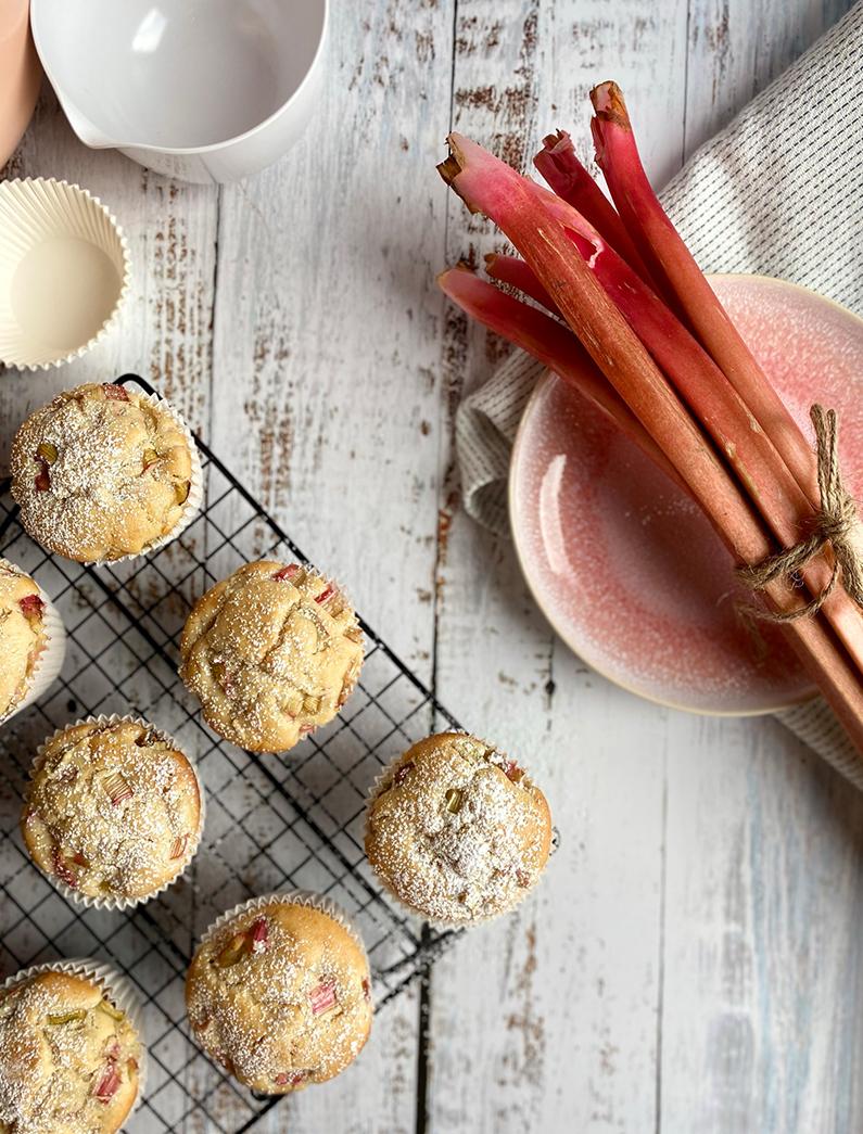 Feine Emmer Rhabarber Muffins